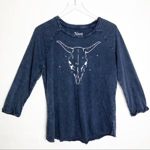 Natural Reflections | Bull Skull Acid Wash Tee